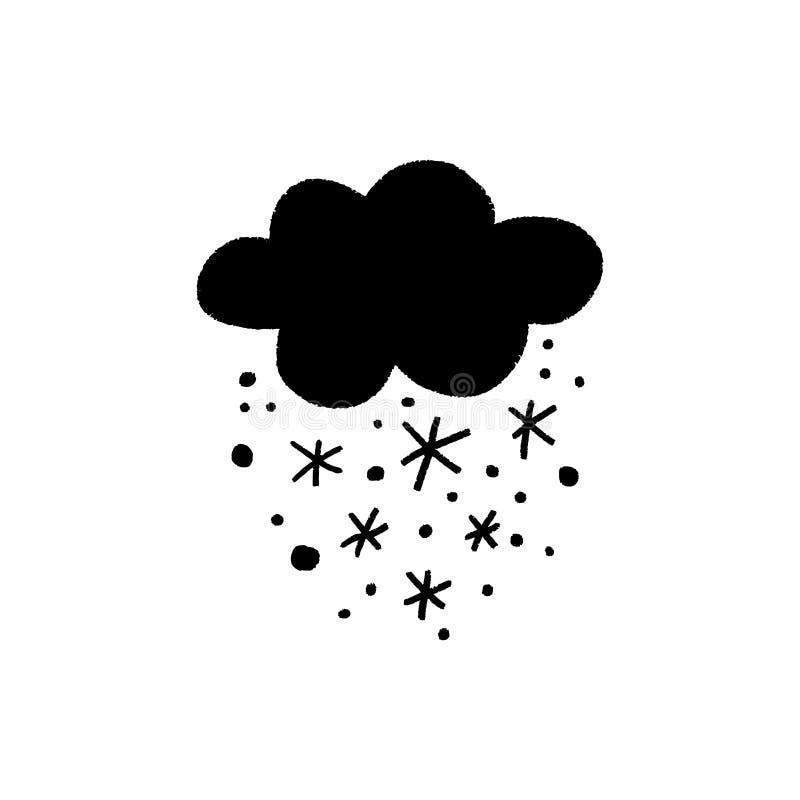 与雪传染媒介例证,冬天概念的逗人喜爱的传染媒介云彩 库存例证
