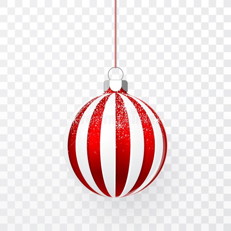 与雪作用的红色圣诞节球 在透明背景的Xmas玻璃球 假日装饰模板 也corel凹道例证向量 库存例证