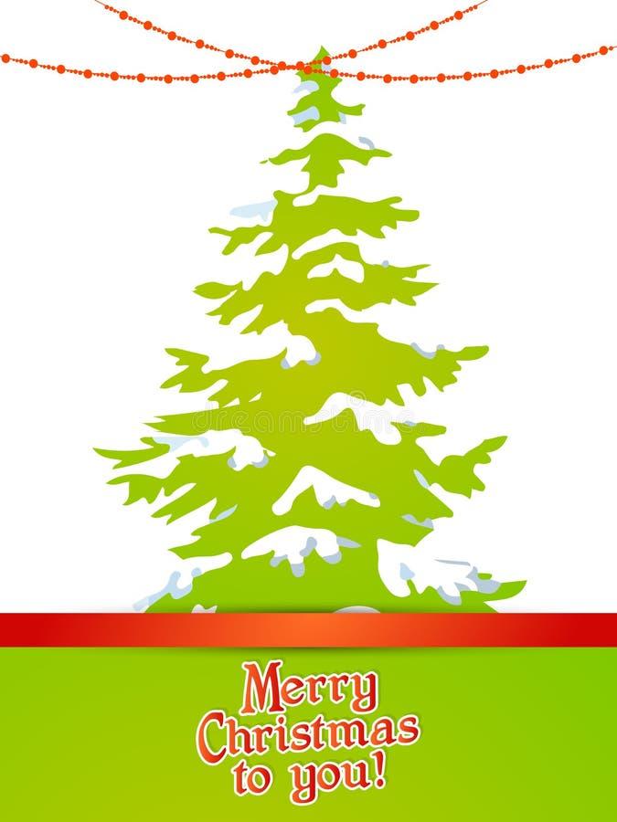 与雪和光的圣诞树 免版税图库摄影
