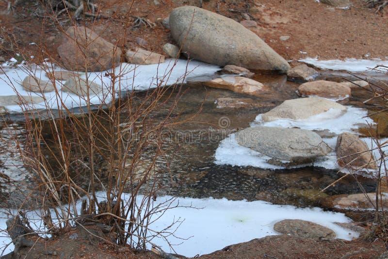 与雪和岩石的小河 库存图片