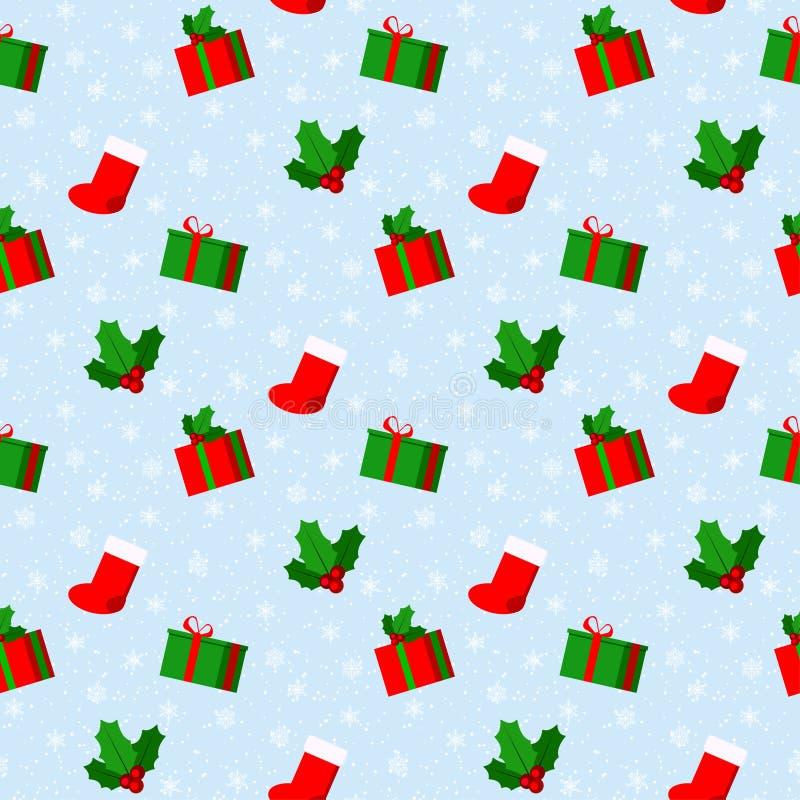 与雪和雪花,红色袜子,礼物盒,槲寄生分支的圣诞快乐逗人喜爱的传染媒介无缝的样式 库存例证