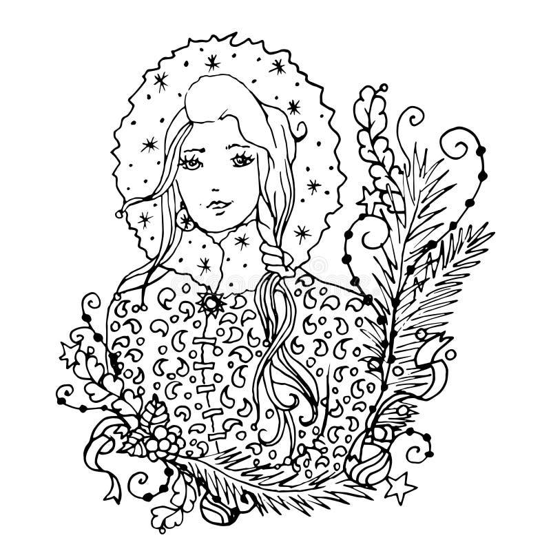 黑与雪少女夫人的传染媒介单音彩色插图圣诞快乐和新年快乐2016印刷品的设计 向量例证