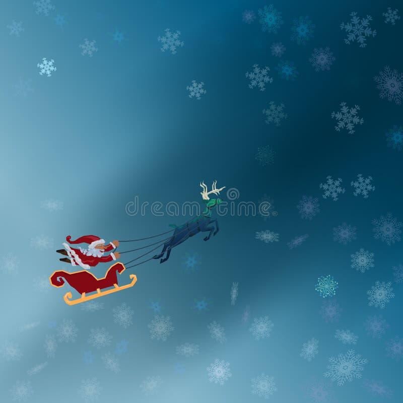 与雪橇飞行的圣诞老人与鹿与雪的冬天夜 皇族释放例证