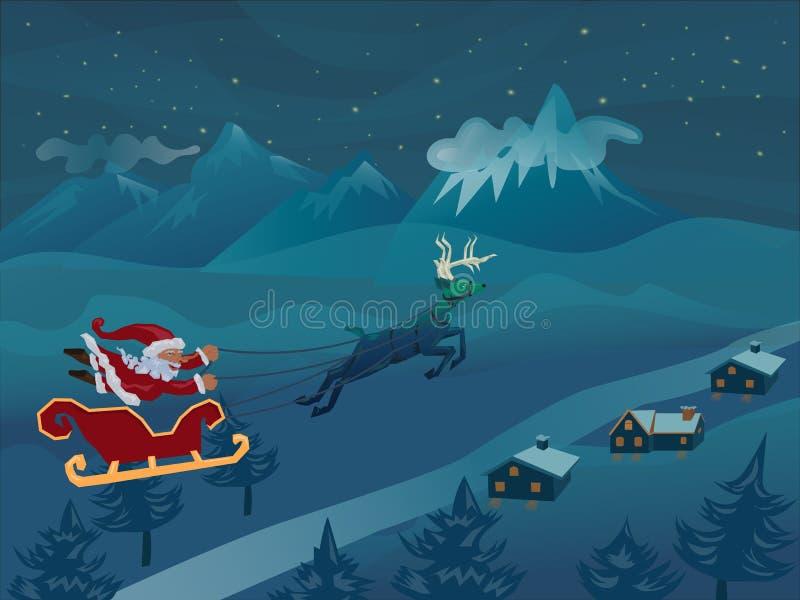 与雪橇飞行的圣诞老人与鹿冬天夜 向量例证