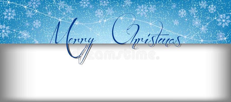 与雪的圣诞快乐文本的横幅和长方形 库存照片