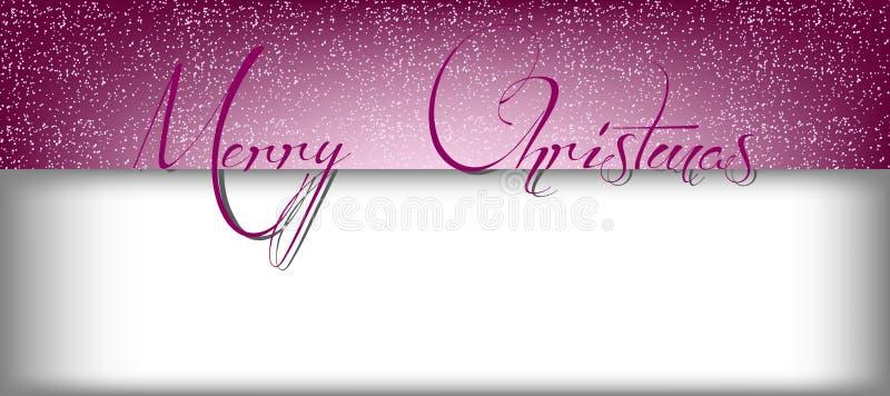 与雪的圣诞快乐文本的横幅和长方形 免版税图库摄影