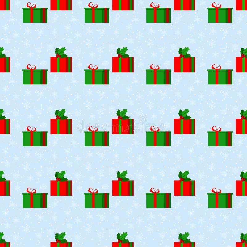 与雪的圣诞快乐逗人喜爱的传染媒介无缝的样式 皇族释放例证