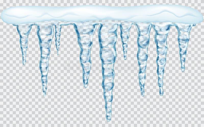 与雪的垂悬的冰柱 皇族释放例证