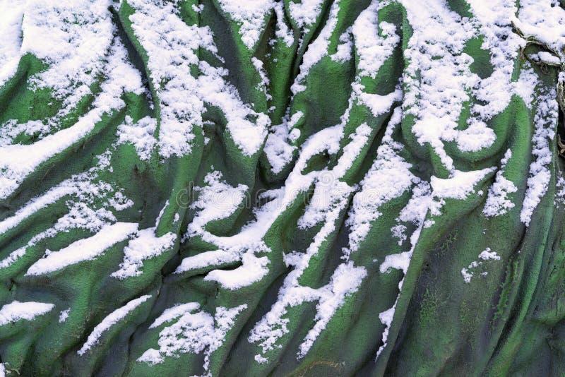 与雪的抽象参差不齐的纹理 免版税库存照片
