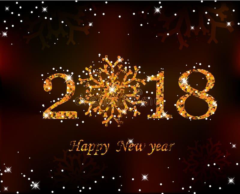 与雪的新年好2018金黄雪花 免版税库存照片
