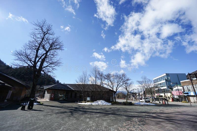 与雪的旅游中心在日光采取的Chuzenji日本 免版税库存图片