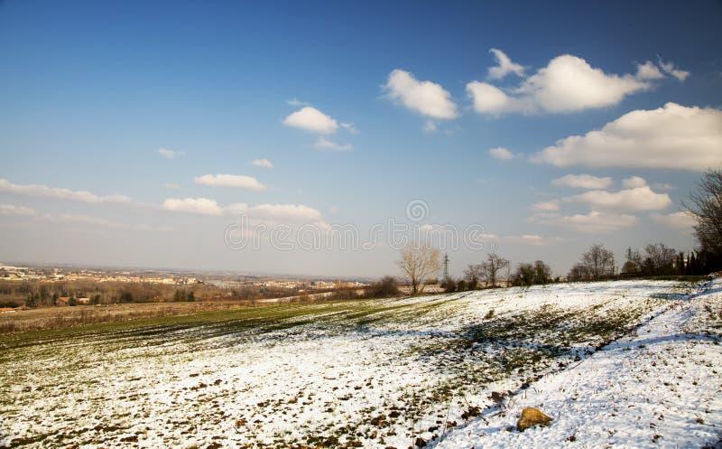 与雪的横向 免版税库存图片