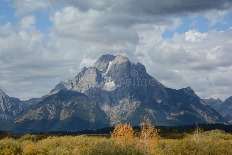 与雪的盛大Tetons在山 免版税库存照片
