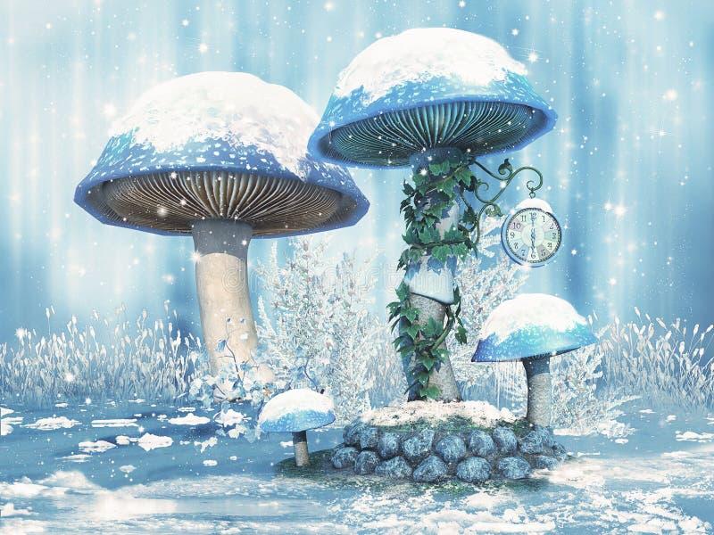与雪的幻想蘑菇 皇族释放例证