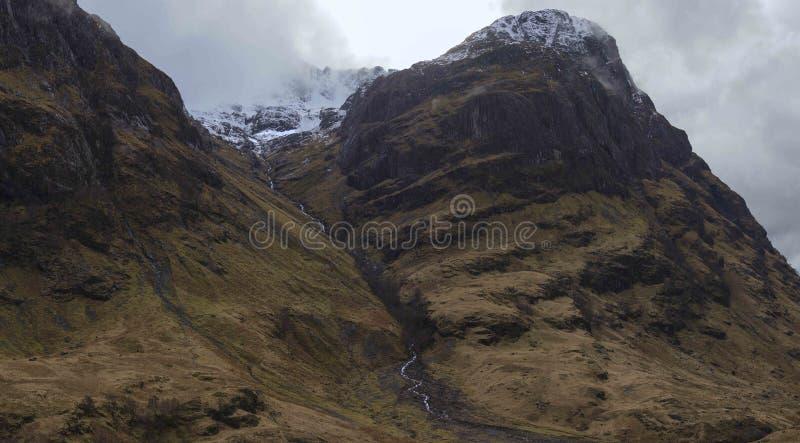 与雪的Glencoe山 库存照片