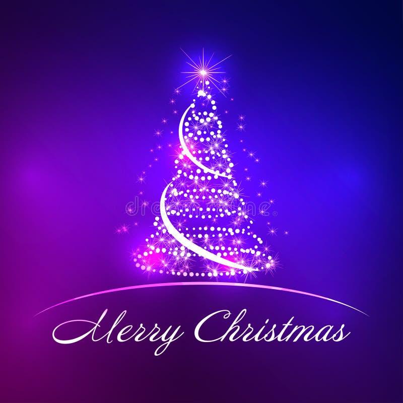 与雪花、星和丝带的抽象圣诞树 向量 库存例证