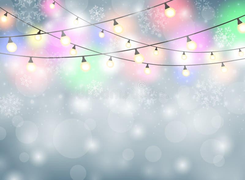 与雪花例证的五颜六色的灯圣诞节背景 皇族释放例证