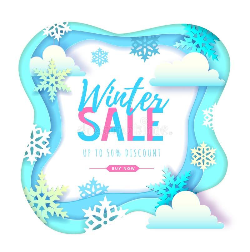 与雪花和云彩的冬天大销售印刷术海报 r 库存例证