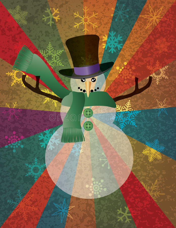 与雪花和光芒的圣诞节雪人我 向量例证