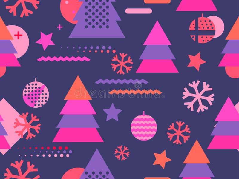 与雪花和冷杉木的圣诞节无缝的样式孟菲斯 伟大为小册子,促销产品 向量例证