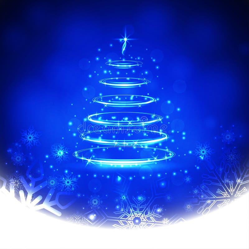与雪花和圣诞树的冬天蓝色背景 也corel凹道例证向量 皇族释放例证