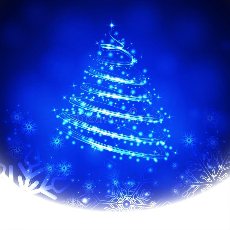 与雪花和圣诞树的冬天蓝色背景 也corel凹道例证向量 库存例证