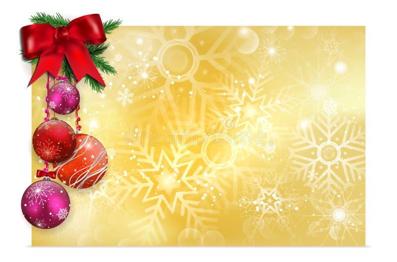 与雪花和圣诞节球的发光的金黄背景 皇族释放例证