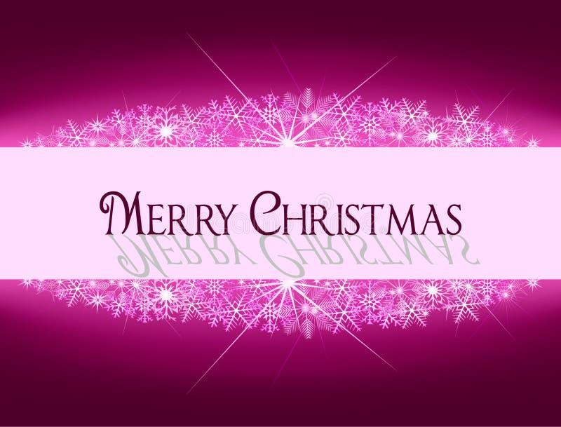 与雪花和文本的圣诞节紫色桃红色横幅 免版税库存照片
