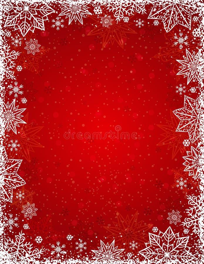 与雪花和星,传染媒介框架的红色背景  库存例证