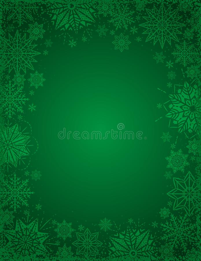 与雪花和星,v框架的绿色圣诞节背景  皇族释放例证