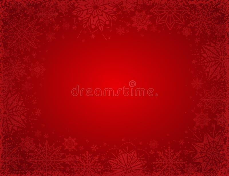 与雪花和星,vec框架的红色圣诞节背景  库存例证