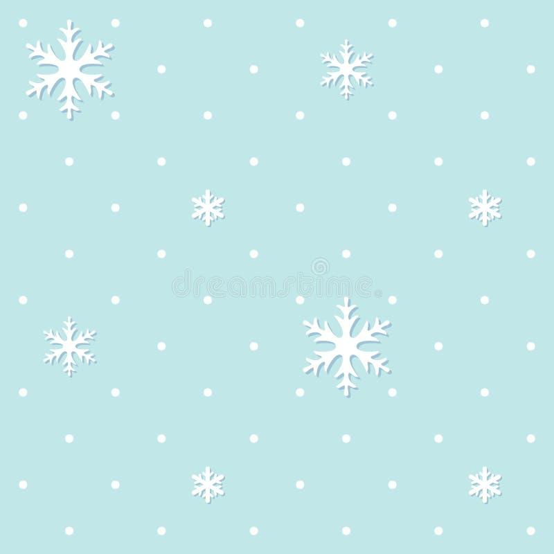 与雪花和落的雪的无缝的冬天样式 新年和圣诞节多雪的背景 Tileable背景 向量例证