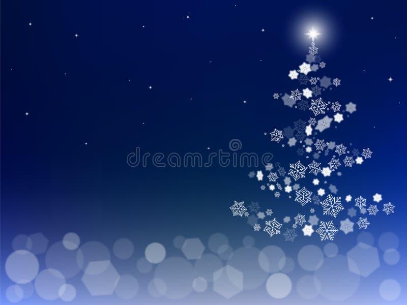与雪花和bokeh光的圣诞节背景 库存例证