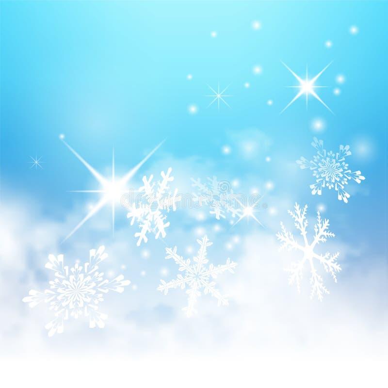 与雪花和Starle的抽象浅兰的冬天背景 向量例证