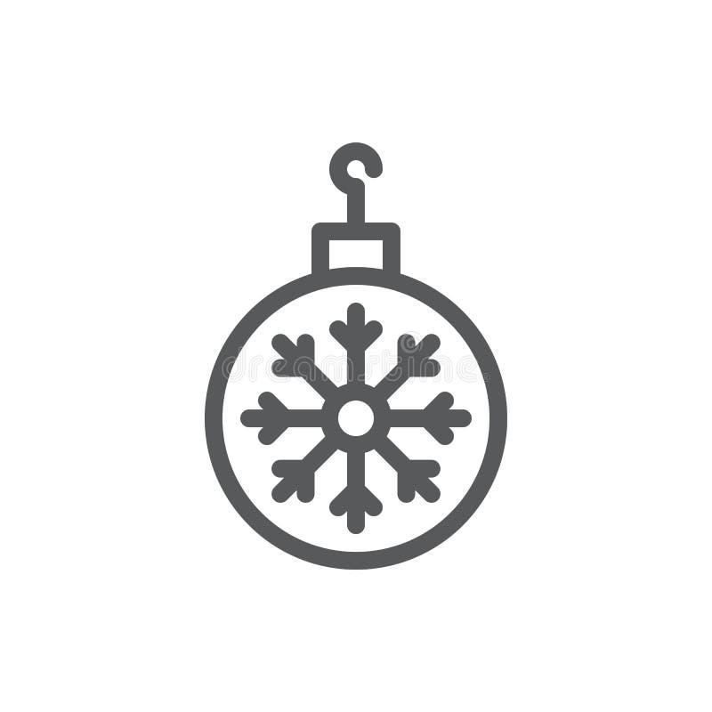 与雪花样式-与编辑可能的冲程的稀薄的概述象的圣诞树球 皇族释放例证