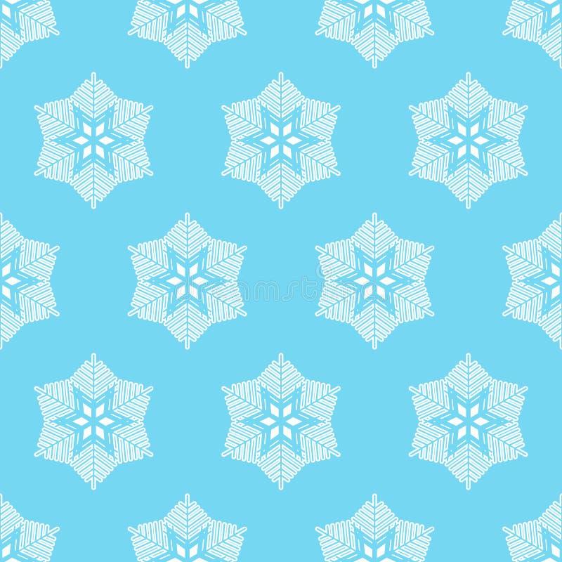 与雪花的冬天无缝的模式 免版税库存照片