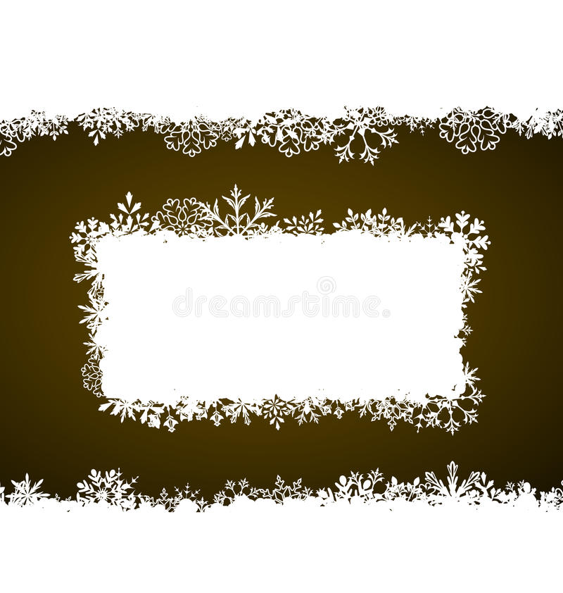 与雪花的冬天框架,假日背景 向量例证