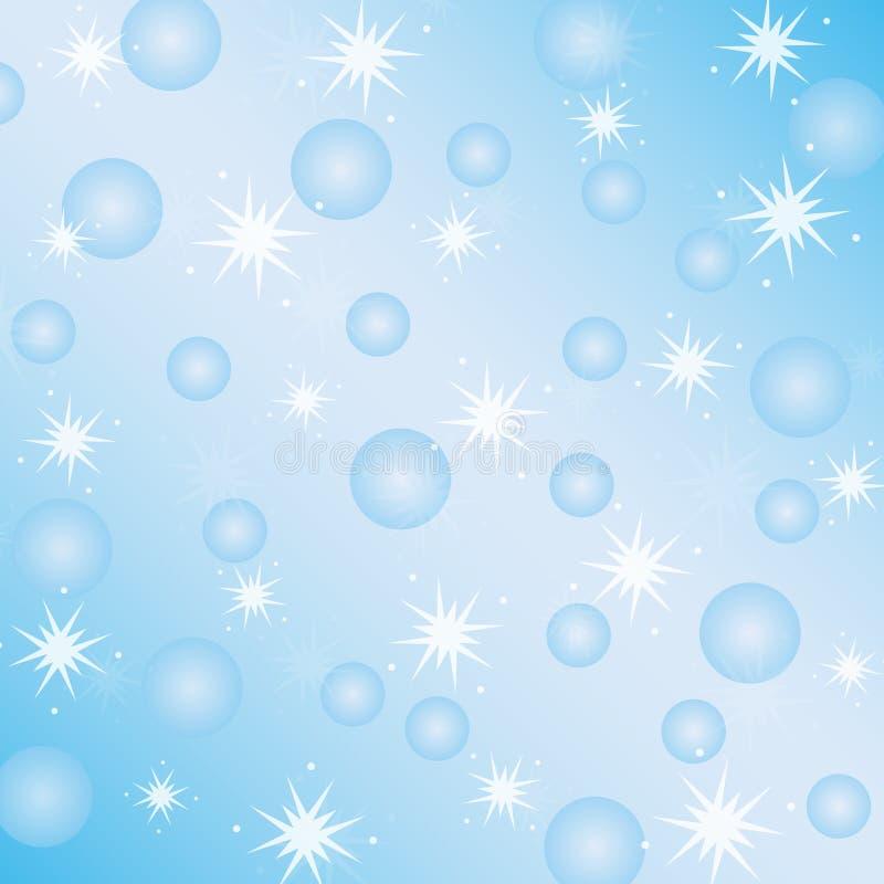 与雪花的冬天淡色蓝色背景 库存照片