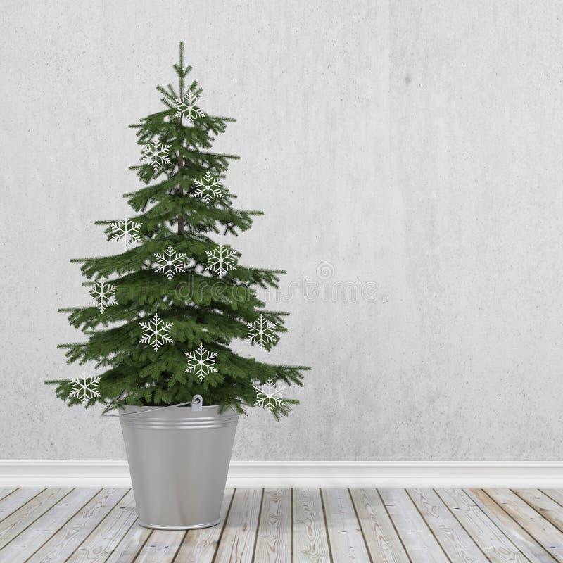 与雪花的减速火箭的圣诞树在金属桶,冬天背景 皇族释放例证