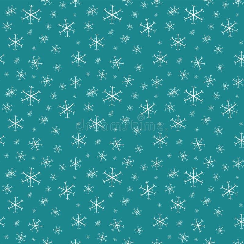 与雪花的圣诞节无缝的传染媒介样式在蓝色背景 库存例证