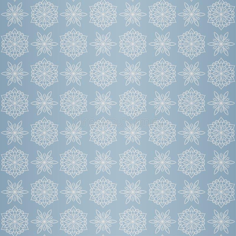 与雪花的圣诞节无缝的样式,蓝色 向量例证