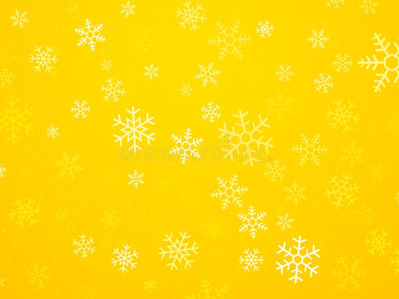 与雪花的圣诞节黄色背景 皇族释放例证