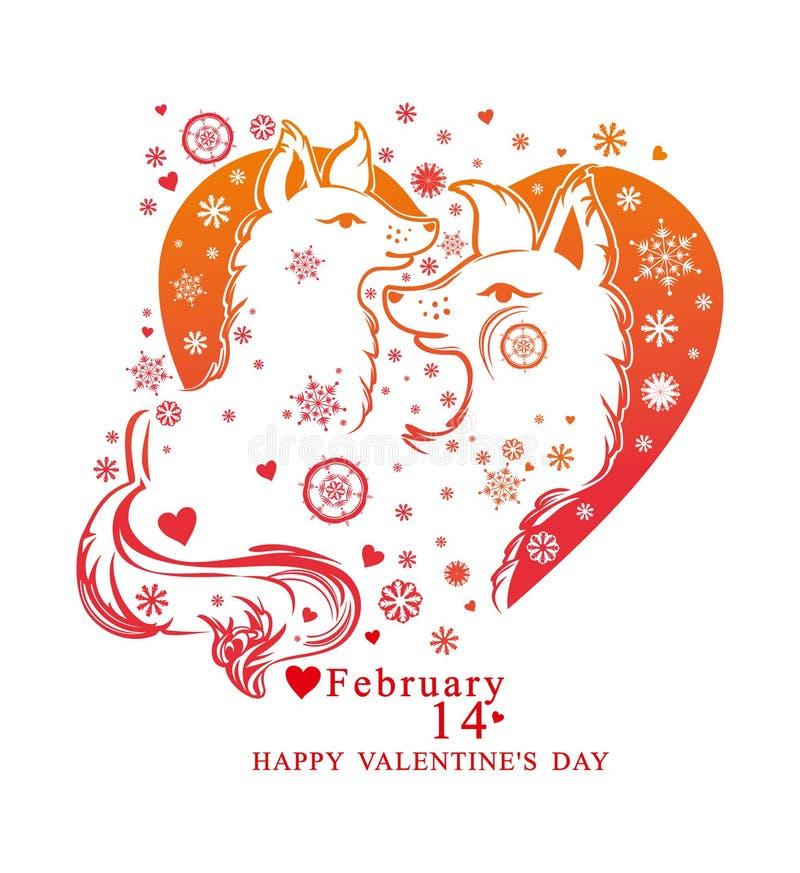 与雪花的心脏形状和对逗人喜爱的狗 库存例证