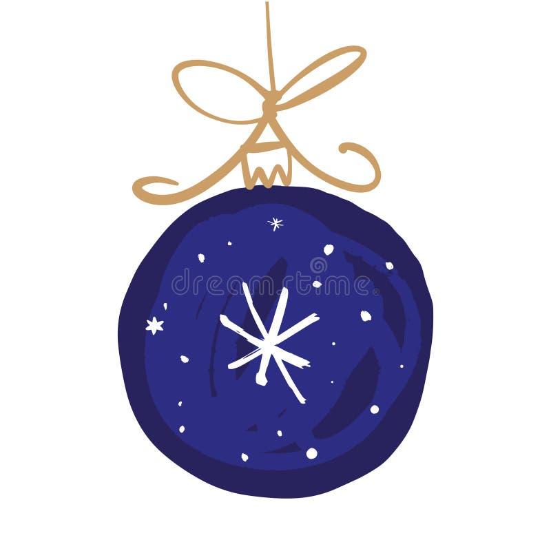 与雪花的手拉的传染媒介圣诞节例证玩具球 库存例证