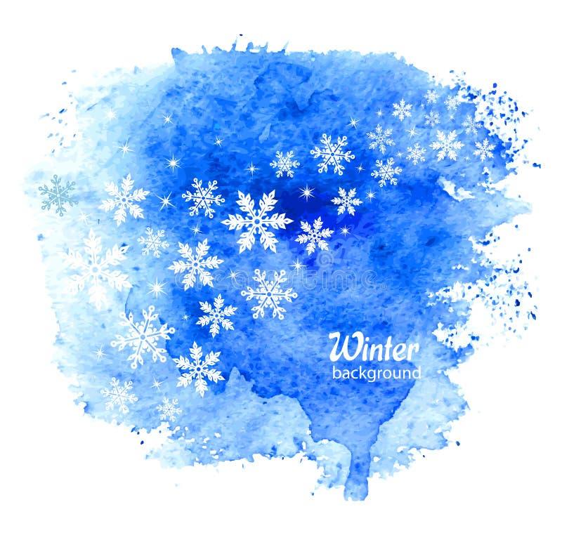 与雪花的抽象冬天背景 向量 向量例证
