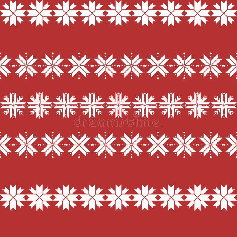 与雪花的无缝的圣诞节样式 传统毛线衣样式 皇族释放例证