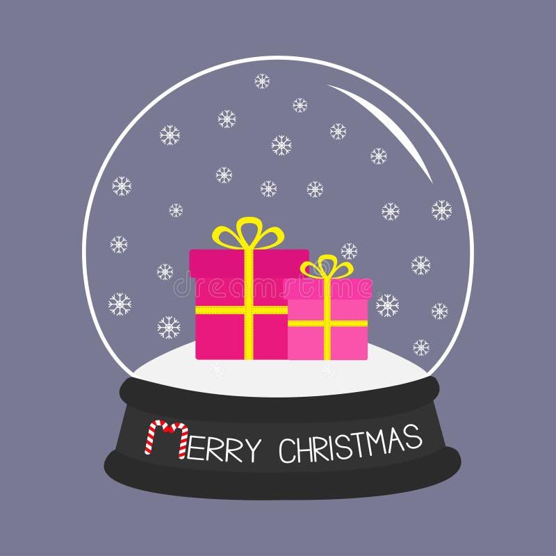 与雪花的礼物盒集合水晶球 紫罗兰色背景 圣诞快乐卡片平的设计 库存例证