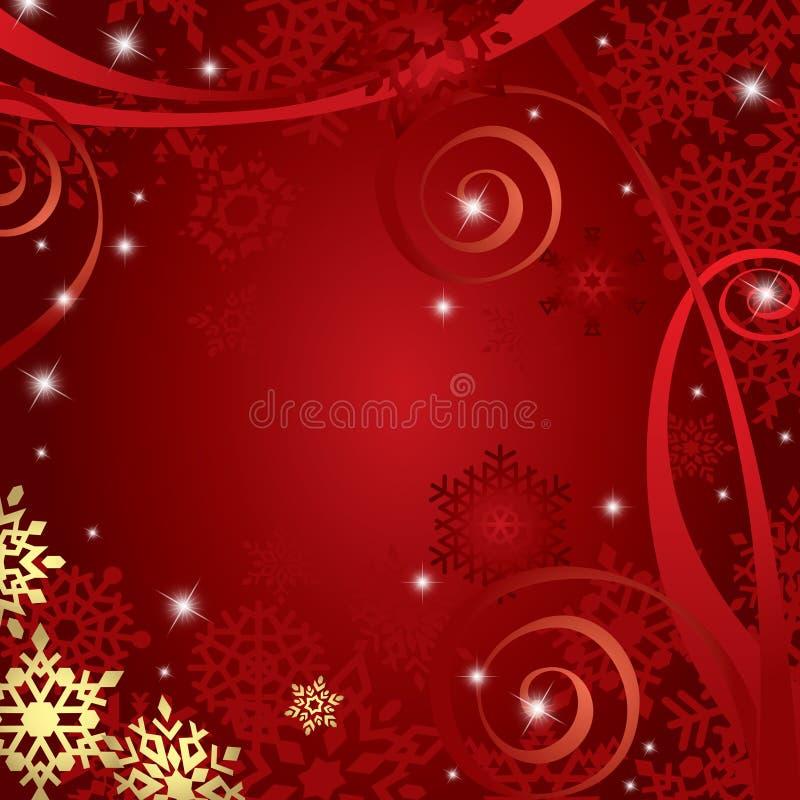 与雪花的红色圣诞节背景 图库摄影