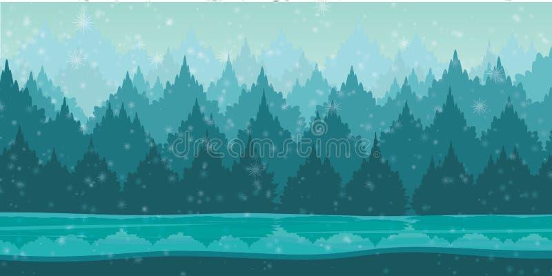 与雪花的美好的冬天风景 免版税库存照片