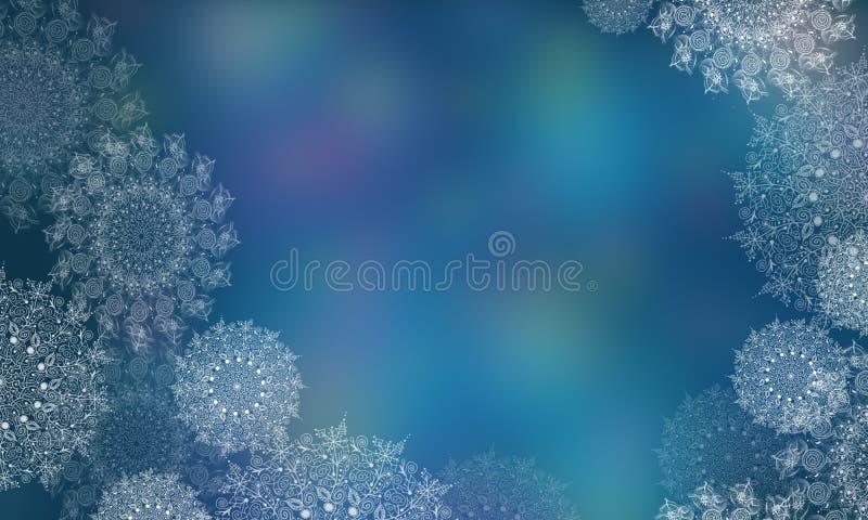 与雪花的被弄脏的背景圣诞节和新年 透明雪花的数字例证 库存例证